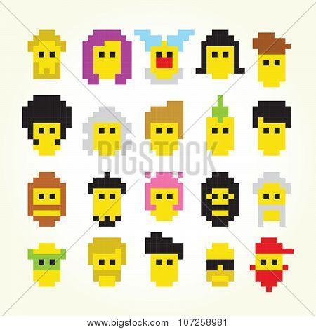 Twenty pixel art faces isolated vector set