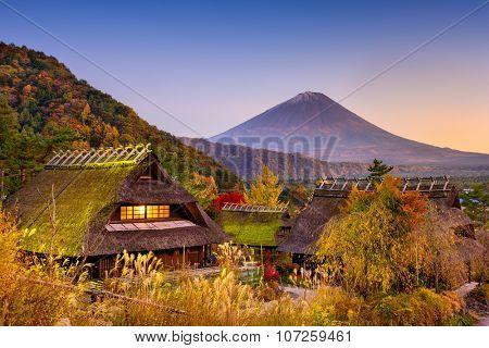 Fuji Mountain, Japan and historic village.