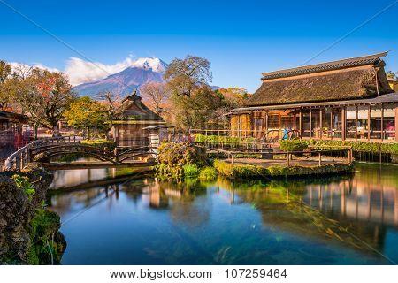 Oshino Hakkai, Japan with Mt. Fuji in the background.