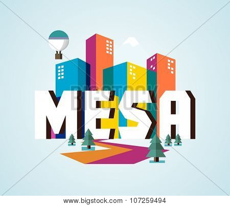 Mesa city logo in colorful vector