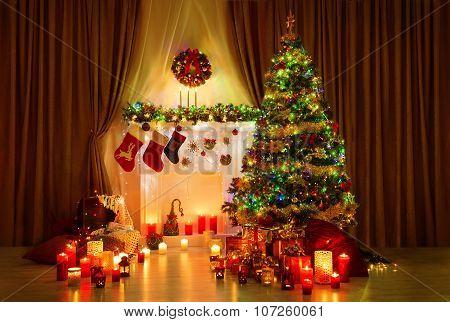 Christmas Tree In Room, Xmas Home Night Interior, Fireplace Lights Decoration, Hanging Socks
