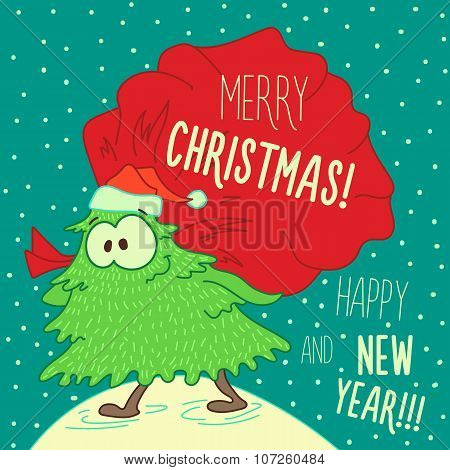 Christmas Greeting Card: Merry Christmas And New Year.