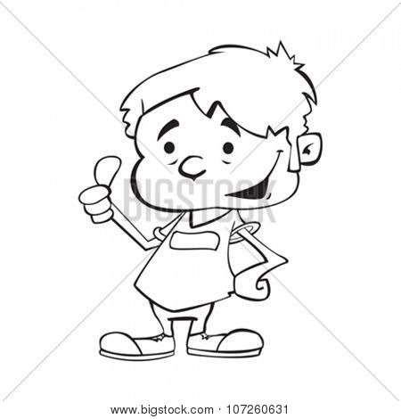 simple black and white happy boy with thumb up cartoon