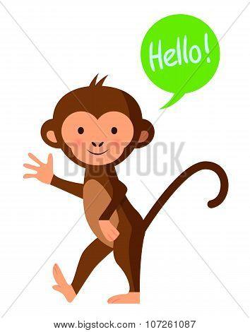 Cute Funny Monkey Saying 'hello', Vector Illustration
