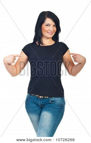 Attractive Woman Pointing To Her T-shirt