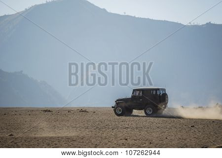4x4 car service for tourist on desert at Bromo Mountain Java ,Indonesia.