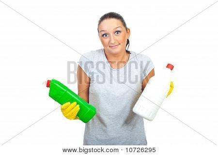 Wonder Woman Holding Detergents