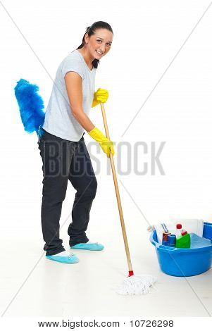 Happy Woman Cleaning Floor