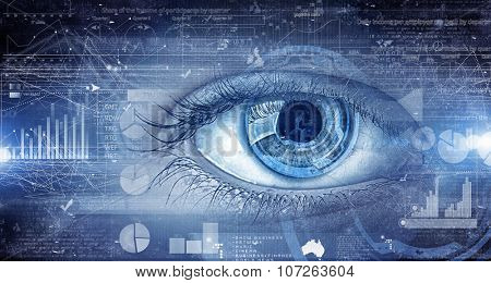 Close up of human eye on digital technology background