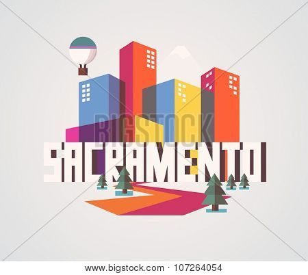 Sacramento city logo in colorful vector