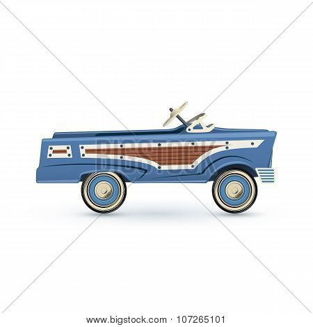 Vintage, old blue toy pedal car.