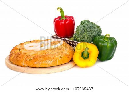 Composition With Bread And Vegetable  Isolated On White