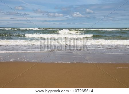 Sandy Beach Near North Sea In Zandvoort, The Netherlands