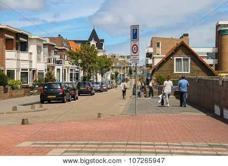 Tourists Walking Along The Street In The Center Of Zandvoort, The Netherlands