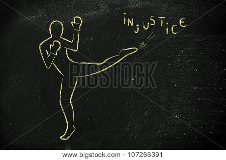 Person Kicking And Boxing Against Injustice