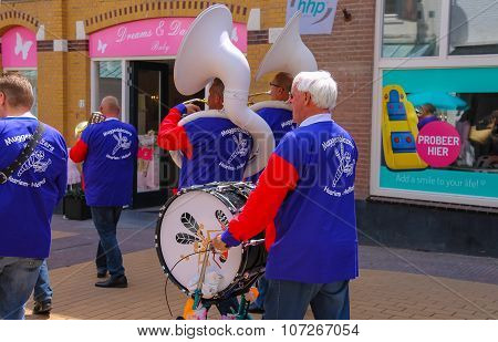 Street Performance Of Musical Group De Muggenblazers In Zandvoort, The Netherlands