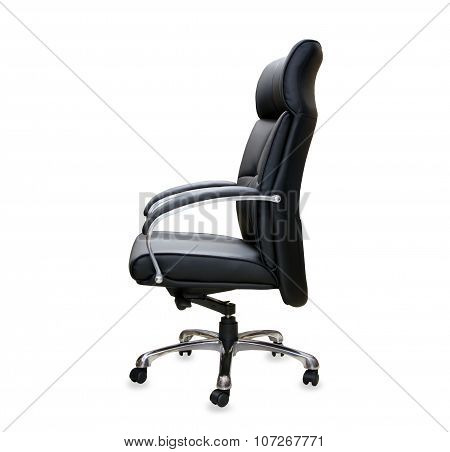 The office chair from black leather.
