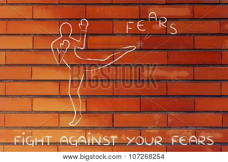 Person Kicking And Boxing The Word Fears