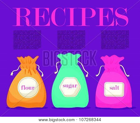 Vector set of colorful flat cooking bags.