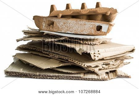 wastepaper heap isolated on white background