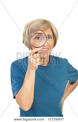 Funny Senior Woman With Magnifier