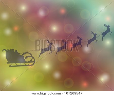 Santa Claus rides in a sleigh reindeer sleigh rides
