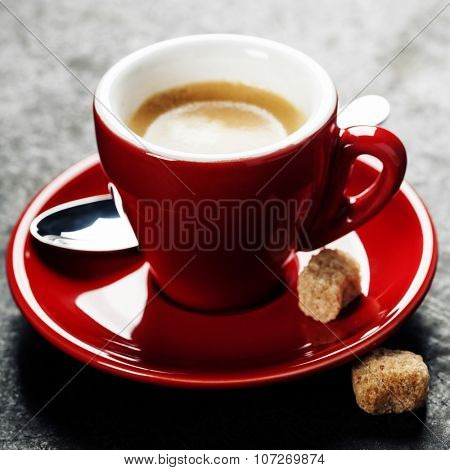 Coffee Espresso. Red Cup Of Coffee on dark background