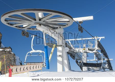 Top Of A Chairlift In Ski Resort