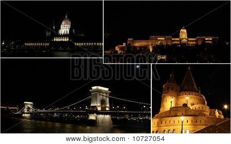 Budapest by night - collage