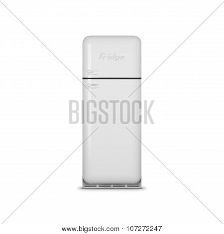 Realistic vintage white vector Fridge