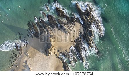 Aerial view looking straight down on Currumbin Rock