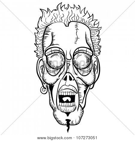 simple black and white zombie face cartoon
