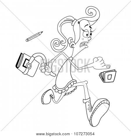 simple black and white girl late for school cartoon
