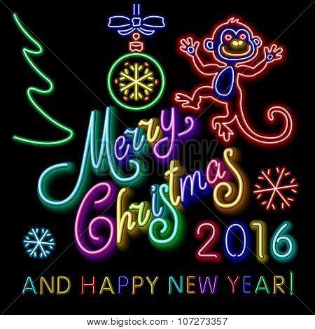 Vector Illustration Of 2016 New Year Outline Neon Light Background For Design, Website, Banner. Holi