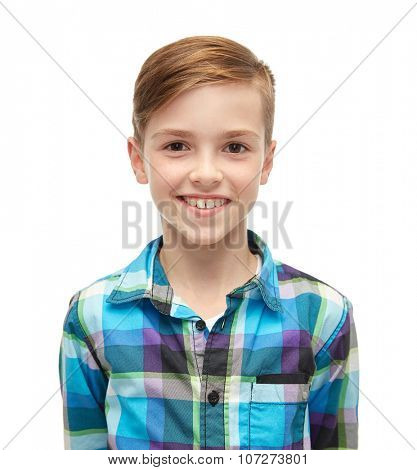 male, gender, childhood, fashion and people concept - smiling boy in checkered shirt
