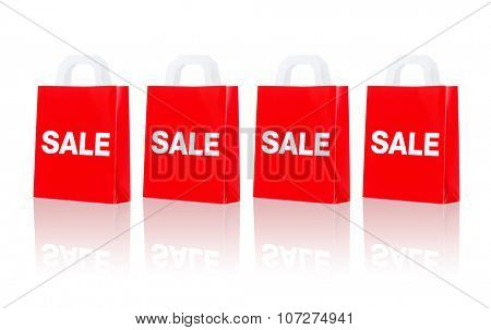 sale, consumerism, discount, advertisement and retail concept - many red shopping bags
