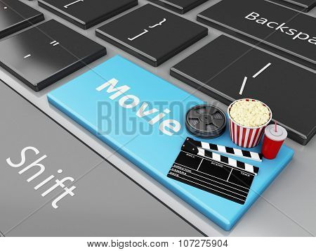 3D Cinema Clapper Board and Popcorm On Computer Keyboard.