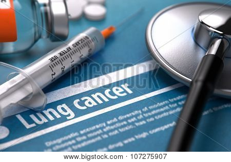 Lung Cancer. Medical Concept on Blue Background.