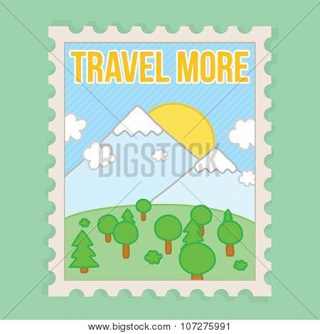 Travel more motivation vector postcard illustration