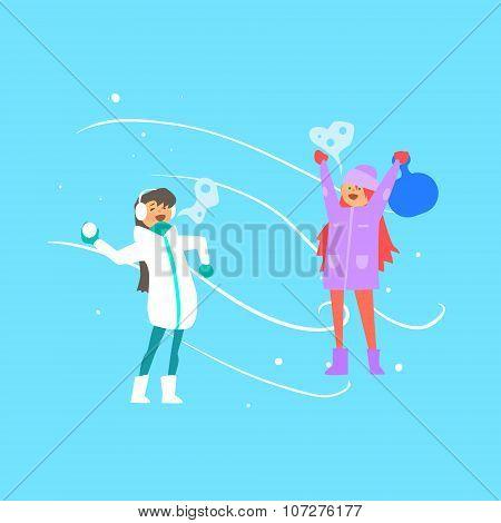 Cheerful Girls Playing Snowballs. Vector Illustration