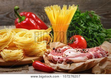 Ingredients For Cooking Pasta, Italian Food