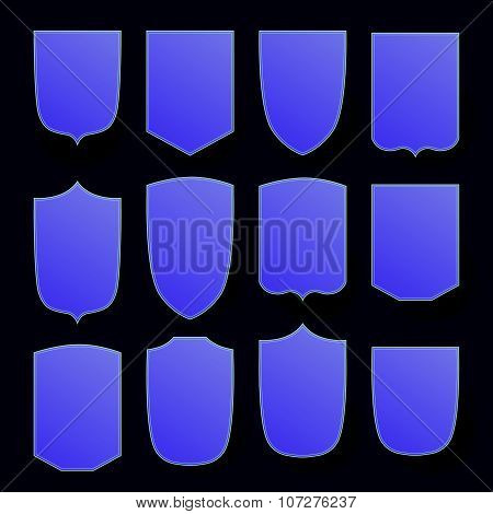 Vector heraldic shield set on white background.