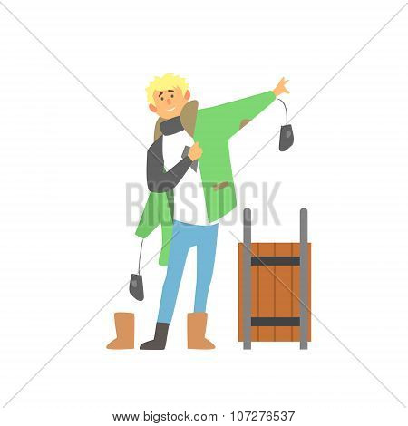 Boy Wearing Winter Clothes with Sledge, Vector