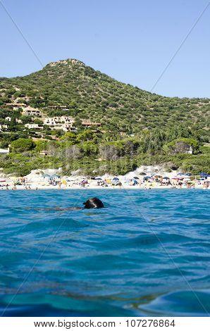 Campulongu Beach, Italy - August 28: Campulongu Beach In Villasimius Crowed Seen From The Blue Sea O