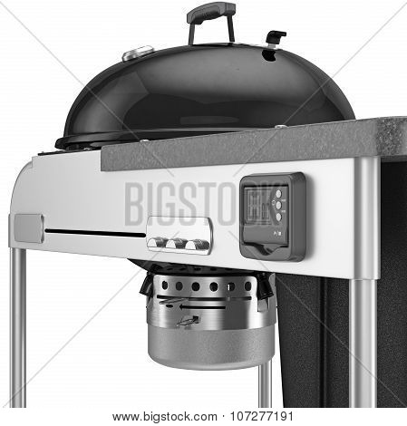 The charcoal grill with an electronic timer and chrome plating elements, close view