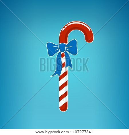 Christmas Candy  With Bow On A Blue Background