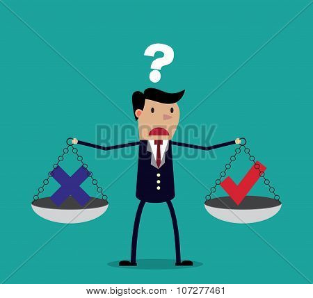 Cartoon businessman balancing cross and tick symbol