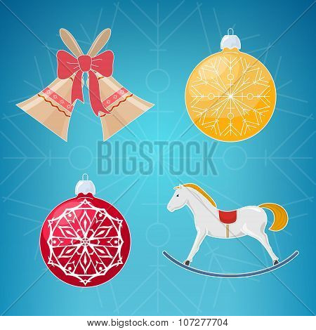 Christmas Icons On Blue Background