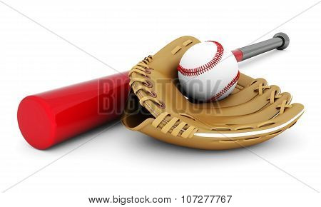 Leather Glove With Baseball And Bat