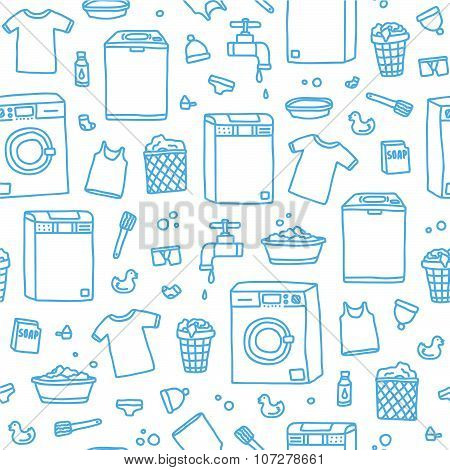Laundry service seamless vector pattern
